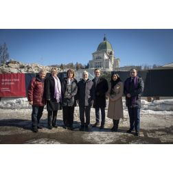Inauguration des travaux de l'Oratoire Saint-Joseph du Mont-Royal et dévoilement du cabinet de la campagne...