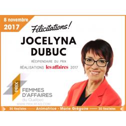 Jocelyna Dubuc honorée par le Réseau des Femmes d'affaires du Québec