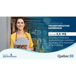 Offensive de transformation numérique - 3 M$ pour soutenir le virage numérique des restaurateurs et des hôteliers du Québec