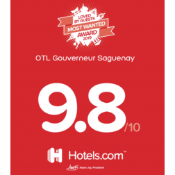 DISTINCTION: OTL Gouverneur Saguenay reçoit le prix «Loved by Guests» de Hotels.com