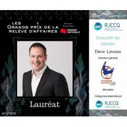 Dave Laveau nommé Exécutif de l'année aux Grands prix de la relève d'affaires du RJCCQ