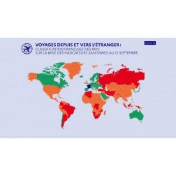 Voyage : la carte actualisée des pays verts, orange, rouges