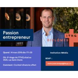 À l'Agenda: Passion entrepreneur - ITHQ le 14 mars