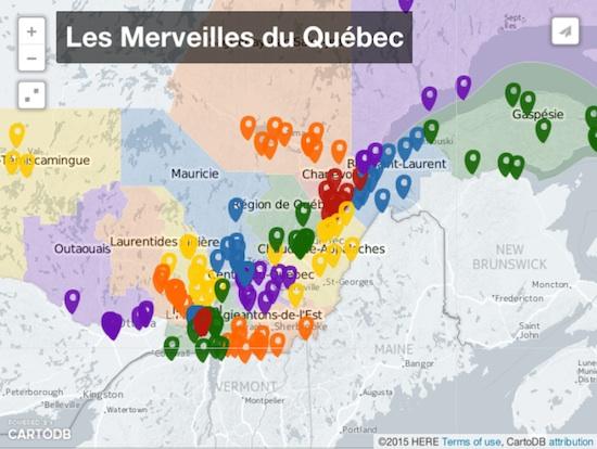 Une Carte Des 180 Merveilles Du Quebec